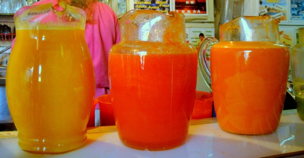 Juices prepared with fresh fruits, popular in Mexico.