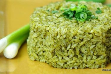 Green Rice with Grilled Shrimp