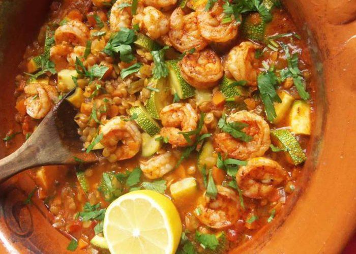 Lentejas con Camarones y Calabacitas (Lentils With Shrimp and Squash), photo by Sonia Mendez Garcia