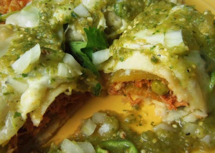 Garnish with any leftover salsa and any or all of the garnishes listed. Makes for some very hearty enchiladas. Serve with your favorite rice.