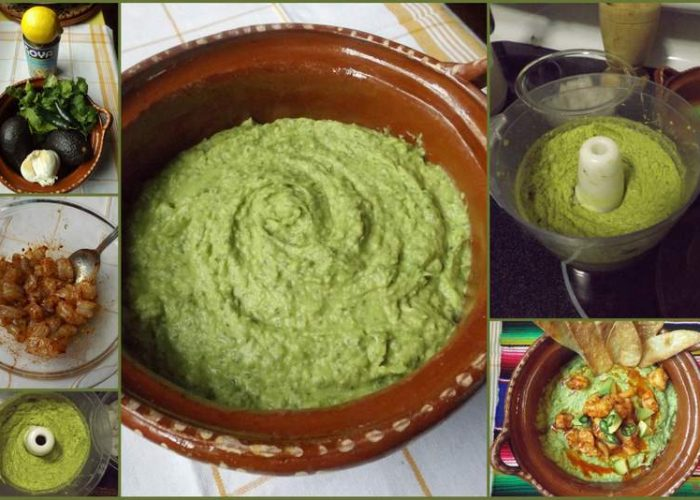 Avocado hummus with spicy shrimp pour in the hot sauce and toss to combine pour hot shrimp with sauce over avocado hummus garnish with diced avocado serrano slices and extra lemon juice sciox Images