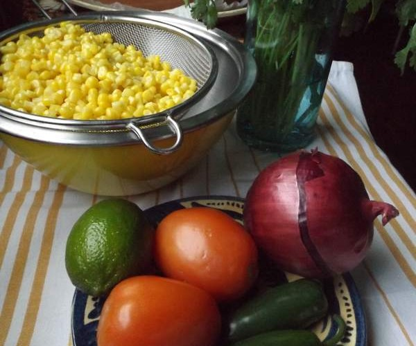 Combine all ingredients in a bowl. For best results when using fresh corn, peel corn and remove kernels using a sharp knife. Transfer corn to a glass bowl. Cook in the microwave for 5 minutes, then cool completely.