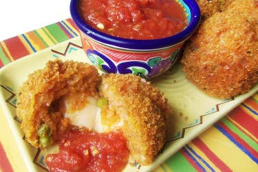 Cheesy Mexican Rice Balls Recipe: Red Rice with Queso Fresco