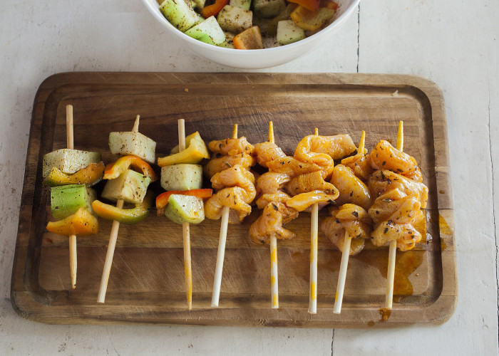 Prepare the chicken skewers with about 3 strips per skewer. Do not overcrowd the chicken pieces. You should have enough for about 10 skewers.