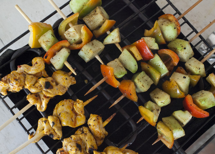 Firecracker Chicken and Chayote Skewers, photo by Sonia Mendez Garcia