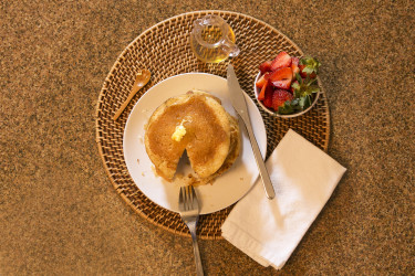 Elote Pancakes With Agave Syrup, photo by Santiago Gomez de la Fuente