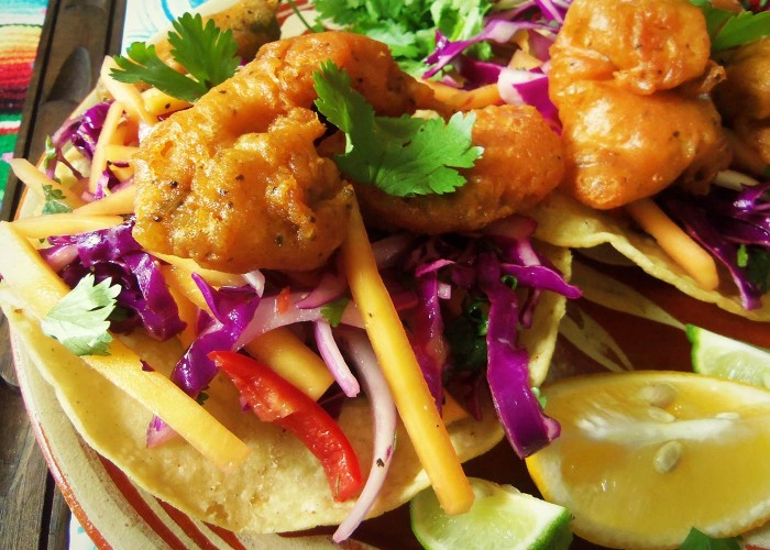 Beer-Battered Catfish Tostadas with a Mango Cabbage Slaw, photo by Sonia Mendez Garcia