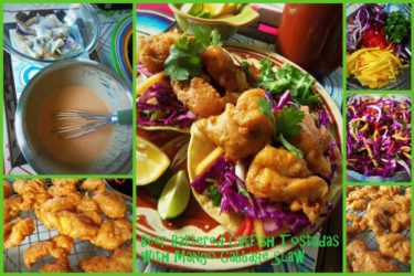 Beer-Battered Catfish Tostadas with a Mango Cabbage Slaw collage