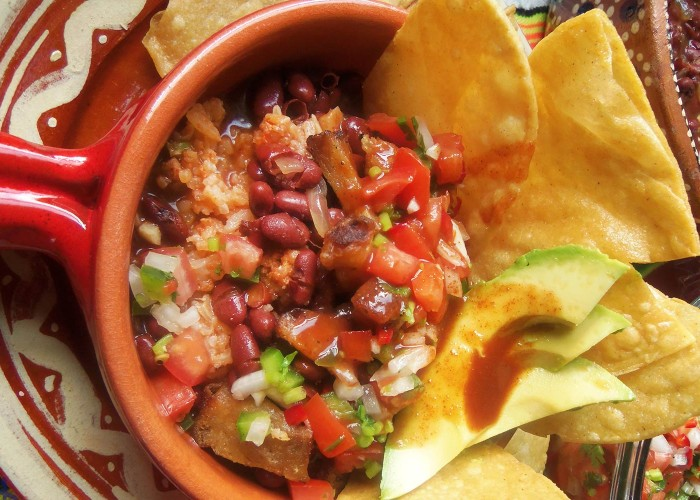 Chifrijo (Costa Rican Crispy Pork, Rice and Beans), photo by Sonia Mendez Garcia