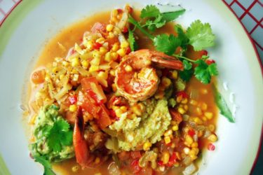 Shrimp and Grits with Fresh Corn and Chayote