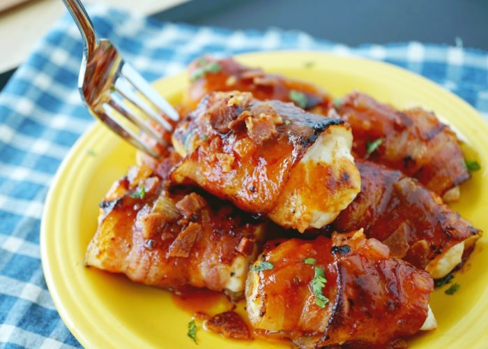 Bacon-Wrapped Chicken with a Chile Ancho Glaze, photo by Sonia Mendez Garcia