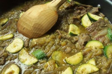 Slow-Cooked Beef Chile Verde with Zucchini & Tomatoes Recipe
