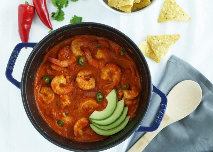 Cazuela de Camarones (Shrimp in Spicy Tomato Sauce), photo by Sonia Mendez Garcia