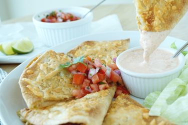 Cheese-Crusted Chipotle Chicken Quesadillas