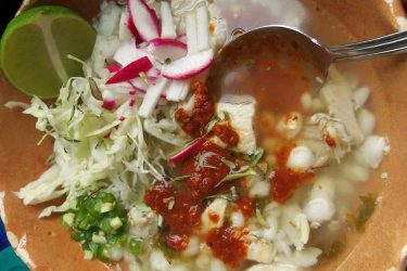 Pozole Blanco Mixto (Mixed Chicken and Pork Pozole), photo by Sonia Mendez Garcia
