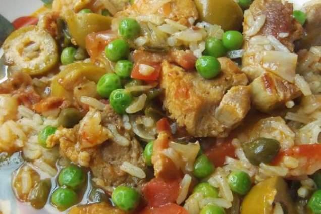 Arroz Con Carne de Cerdo (Soupy Pork and Rice), photo by Sonia Mendez Garcia