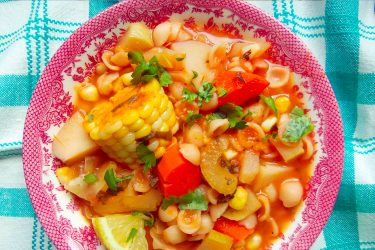 Caldo de Verduras con Conchitas (Hearty Vegetable Soup with Pasta Shells), photo by Sonia Mendez Garcia