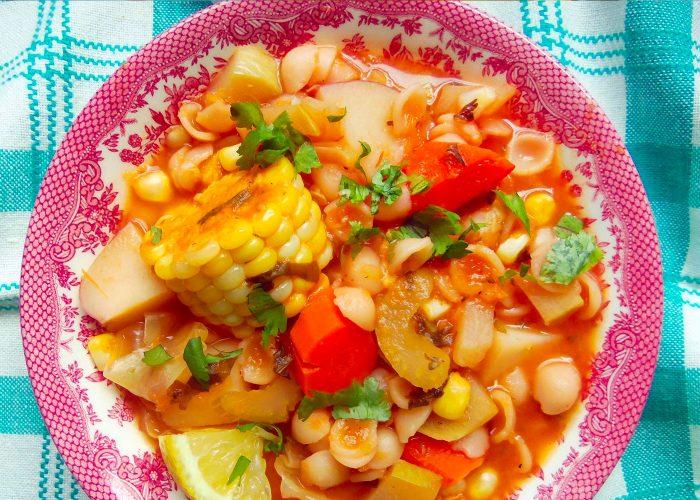 Caldo de Verduras con Conchitas (Hearty Vegetable Soup with Pasta Shells), photo by Sonia Mendez Garcia