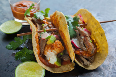 Surf & Turf Tacos with Carne Asada and Spicy Shrimp
