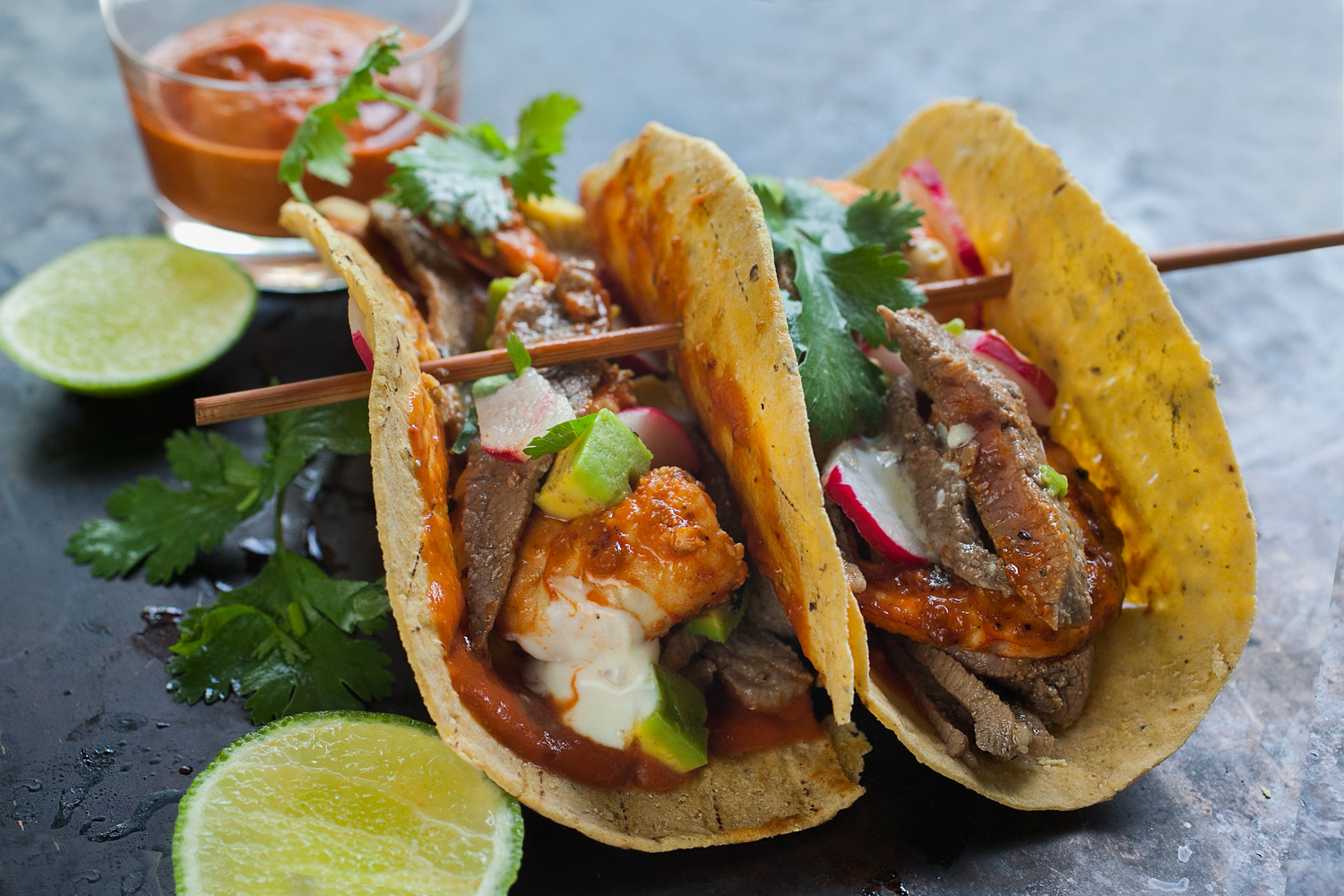 Turf N Surf >> Surf & Turf Tacos with Carne Asada and Spicy Shrimp - Hispanic Kitchen : Hispanic Kitchen