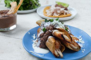 Chicken Taquitos with Chorizo-Bean Sauce