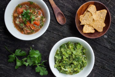 Quick and Fresh Tomato Salsa and Tomatillo Salsa, photo by Sonia Mendez Garcia