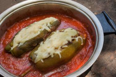 Chiles Rellenos en Salsa (Skillet Stuffed Poblanos in Tomato Salsa)