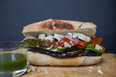 Roasted Veggies and Feta Sandwich