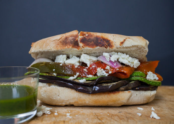 Roasted Veggies and Feta Sandwich, photo by Estrella Benmaman