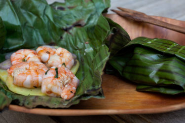 Barbecue Shrimp Grilled in Banana Leaves, photo by Estrella Benmaman