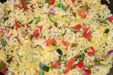 Garlicky Zucchini Rice with Pico de Gallo, photo by Sonia Mendez Garcia