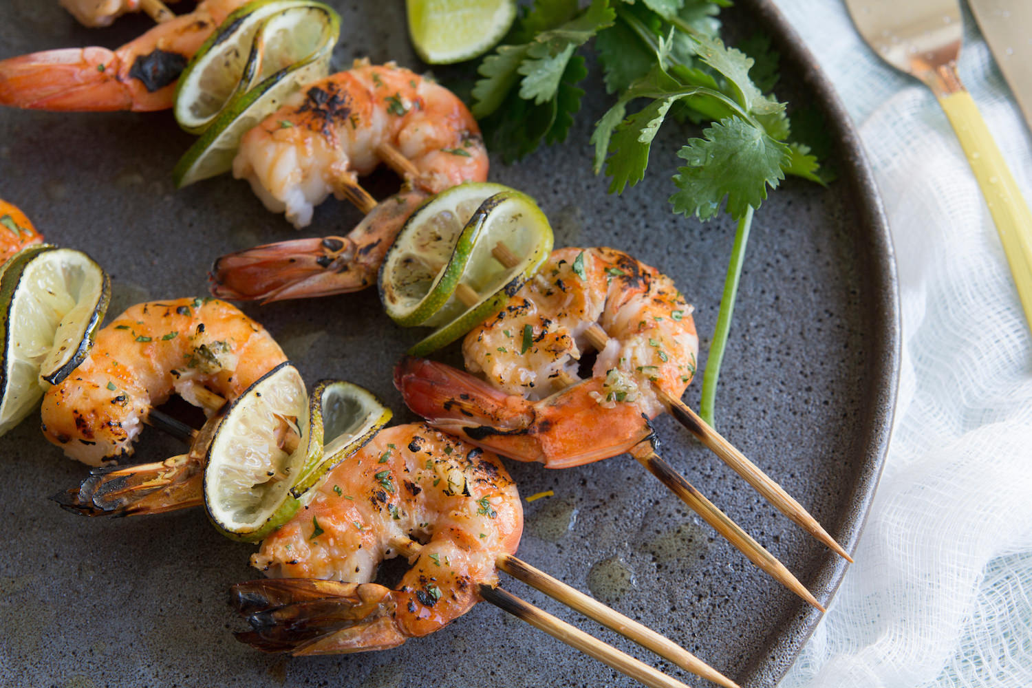 Grilled Cilantro Lime Shrimp Kebabs