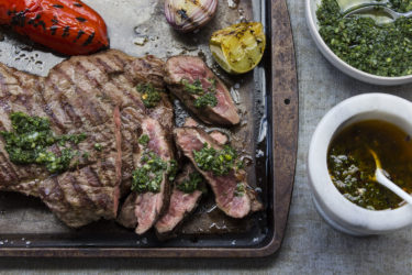 Grilled Churrasco With Green and Red Chimichurri