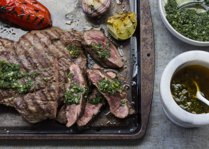 Grilled Churrasco With Green and Red Chimichurri, photo by Denisse Oller