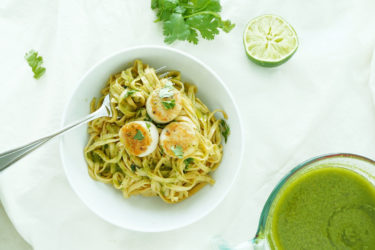 Salsa Verde Scallops Over Pasta