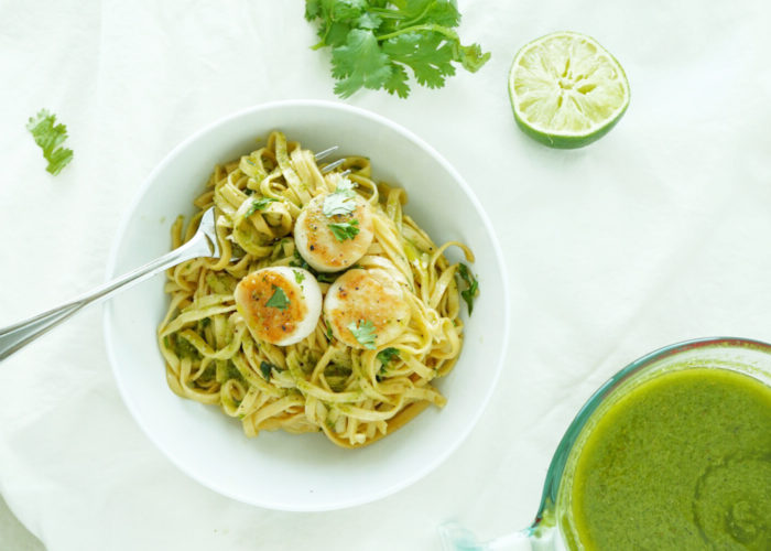 Salsa Verde Scallops Over Pasta, photo by Sonia Mendez Garcia