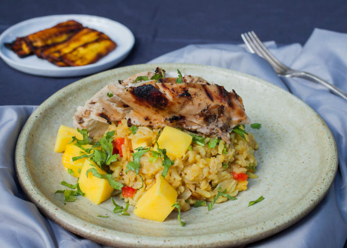 Blackened Chicken with Savory Mango Rice, photo by Sonia Mendez Garcia