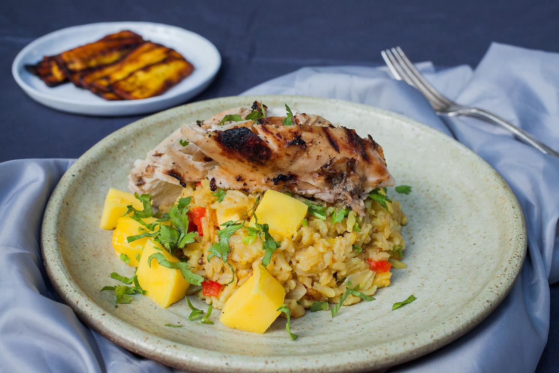 Blackened Chicken with a Savory Mango Rice