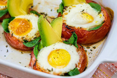Avocado-Baked Eggs in Roasted Tomatoes