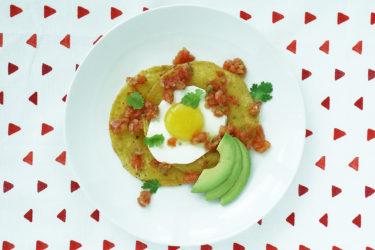 Fried Egg & Homemade Salsa on Tostadas, photo by Sonia Mendez Garcia