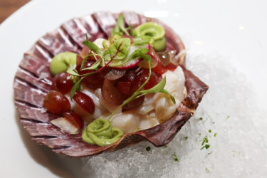 Scallop Ceviche With Avocado Crema, Shaved Fennel and Red Grapes