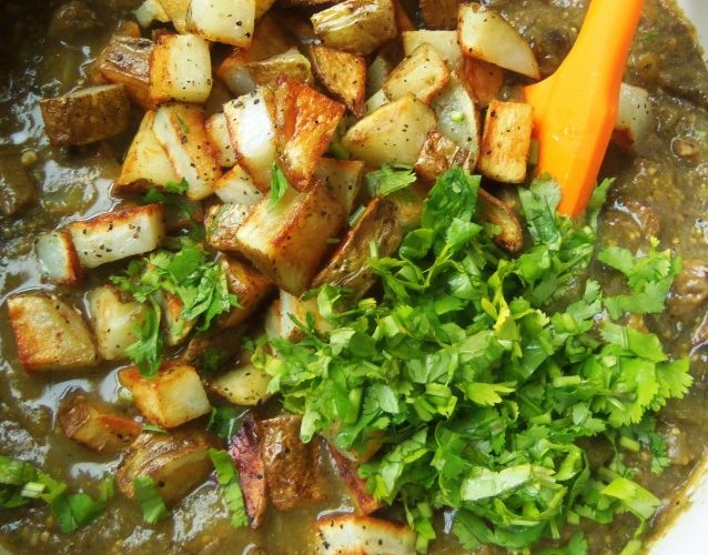 I like adding red or white potatoes to my pork chile verde. The cilantro is nice to add towards the end of cooking time.