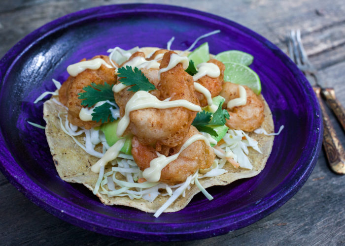 Camarones Capeados (Beer Battered Shrimp Tostadas), photo by Sonia Mendez Garcia