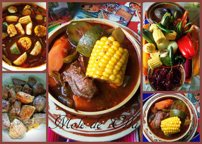 Add the remaining vegetables, water and beef bouillon. You could use beef broth as well. Bring to a boil once again, reduce heat and simmer for 20 to 25 minutes. Taste for salt. Serve with warm tortillas, diced serrano peppers, lemon or lime wedges and avocado.