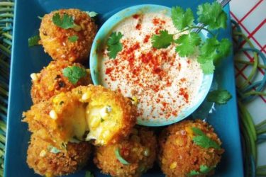 Cheese-Filled Plantain-Corn Fritters
