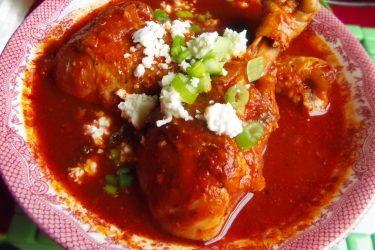 Chilate de Pollo (Braised Chicken in a Spicy Guajillo Broth)