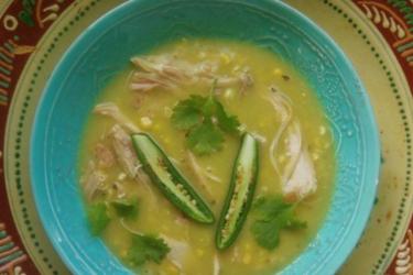 Chileatole Verde con Pollo (Chicken and Corn Soup), photo by Sonia Mendez Garcia