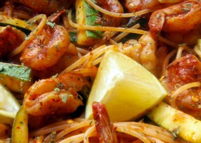 Chile de Arbol Shrimp and Pasta, photo by Sonia Mendez Garcia
