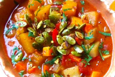 Chipotle Pumpkin, Sweet Potato and Chayote Stew
