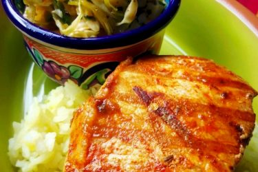 Grilled Pork Chops Marinated in Brine with Cabbage Slaw